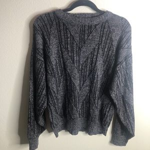 Vintage Black and Gray Chunky Knit Sweater